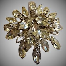 "Signed Eisenberg Ice ""E"" Diamond Rhinestone Brooch"
