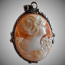 """Victorian Era Shell Cameo """"Lady's Profile"""" Pendant w/Sterling Silver Mounting"""