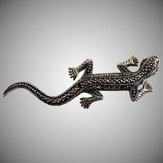 "Vintage Sterling Silver & Marcasite Figural ""Lizard"" Brooch"