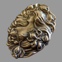 """Sterling Silver """"Art Nouveau"""" Repousse Brooch of Image of a Gorgeous Lady"""