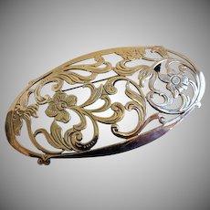 Vintage Sterling Silver Filigree Art Nouveau Style Floral Brooch