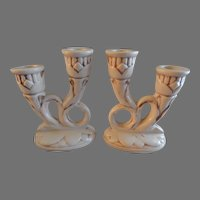 "Red Wing Pottery ""Magnolia"" Pattern - Pair of Double Candlesticks #397"