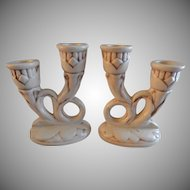 """Red Wing Pottery """"Magnolia"""" Pattern - Pair of Double Candlesticks #397"""