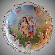 Porcelain Moschendorf (PM) Bavaria Portrait Cabinet Plate - Flora Pattern Motif