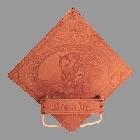 Arts & Crafts Era Pyrography Wisk Broom/Brush Wall Pocket w/Horse Heads Motif