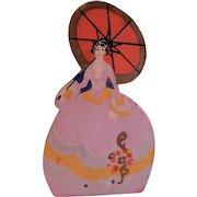 """Vintage Folk Art """"Southern Belle"""" Hand Painted Silhouette Door Stop"""