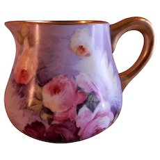 Blakeman & Henderson Hand Painted Cider Pitcher w/Tea Roses Motif - Artist Signed