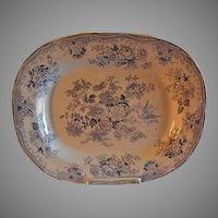 Staffordshire Blue Transfer-Ware Platter - Oriental Peony Blossoms Motif