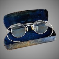 Art Deco 1930's HiBo 1/10 12K GF Wire Rim Eyeglasses & Original Case