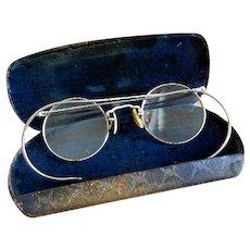 Art Deco 1930's HiBo 1/10 12K GF Wire Rim Eyeglasses & Original Case