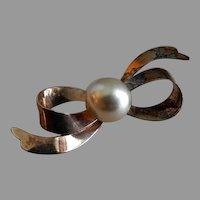 Sterling Silver & Gold Vermeil Bow-Shaped Brooch w/Faux Pearl Setting