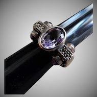 Art Deco Sterling Silver, Amethyst & Marcasite Ring - Size 8