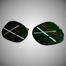 """Georgine"" Mid-Century Modernist Enameled Copper Cufflinks - Pair"