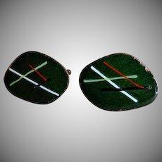 """Georgine"" Mid-Century Modernist Enameled Copper Cufflinks - Pair"