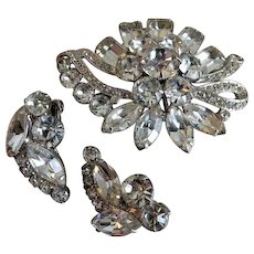 Eisenberg Ice Demi-Parure - Diamond Rhinestone Brooch & Clip Earrings