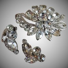 Eisenberg Ice Demi-Parure - Diamond Rhinestone Brooch & Clip Earrings