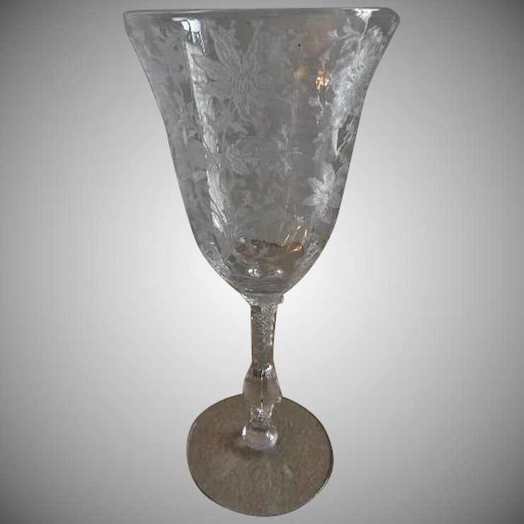 cambridge glass wildflower pattern clear etched water goblets - Cambridge Glass