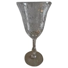 """Cambridge Glass """"Wildflower"""" Pattern Clear Etched Water Goblets - Set of 5"""