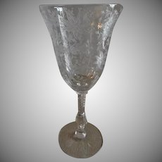 "Cambridge Glass ""Wildflower"" Pattern Clear Etched Water Goblets - Set of 5"