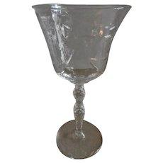"""Libbey/Rock Sharpe """"Salon"""" Pattern Clear Cut Water Goblets - Set of 6"""