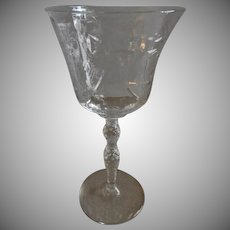 "Libbey/Rock Sharpe ""Salon"" Pattern Clear Cut Water Goblets - Set of 6"