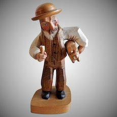 """Anri of Italy """"Man Carrying A Pig"""" Fork Art Carving"""
