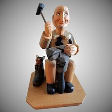 """Anri of Italy """"Shoe Maker"""" Fork Art Carving"""