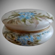 Bawo & Dotter Elite Limoges Hand Painted Powder/Trinket Box w/Forget-Me-Not Floral Motif