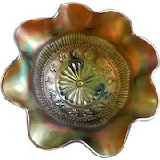 """Northwood Green Carnival """"Rosette and Ruffles & Rings"""" Patterns Ruffled Footed Bowl"""