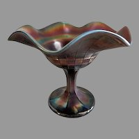 "Northwood Amethyst Carnival Glass ""Basketweave"" Pattern Compote on Standard"