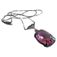 Art Deco Sterling Silver w/Faceted Oval Pink Crystal Drop Necklace - Circa 1920's
