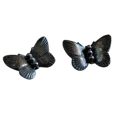 "Vintage Sterling Silver Figural ""Butterfly"" Pins - Pair"