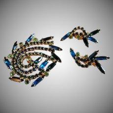 Juliana (DeLizza & Elster) Gold-Tone Brooch & Earrings w/Emerald Green, Sapphire Blue & Aqua Rhinestones