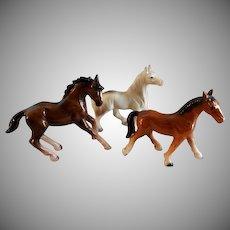 Vintage 1960's Porcelain Bay, Arabian & Chestnut Horse Figurines - Group of Three