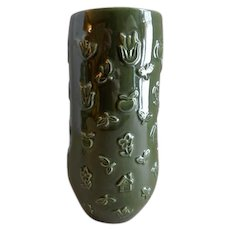 """Red Wing Pottery Mid-Century Embossed """"Figural"""" Vase - M 1443"""
