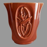 """Red Wing Pottery Mid-Century Embossed """"Bird-of-Paradise Floral"""" Vase - B 2000"""