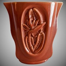 "Red Wing Pottery Mid-Century Embossed ""Bird-of-Paradise Floral"" Vase - B 2000"