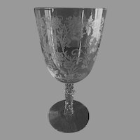 "Fostoria Etched ""Buttercup"" Pattern Low Water Goblets - Set of 4"