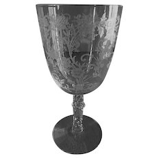 """Fostoria Etched """"Buttercup"""" Pattern Low Water Goblets - Set of 4"""