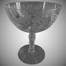 """Fostoria Etched """"Buttercup"""" Pattern Low Sherbets - Set of 4"""