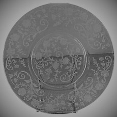 "Fostoria Etched ""Buttercup"" Pattern Salad Plates - Set of 4"