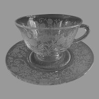 """Fostoria Etched """"Buttercup"""" Pattern Cups & Saucers - Set of 4"""