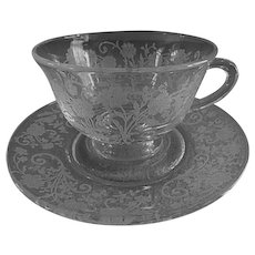 "Fostoria Etched ""Buttercup"" Pattern Cups & Saucers - Set of 4"