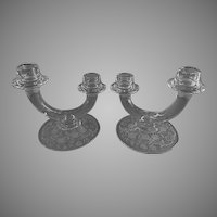 "Fostoria Etched ""Buttercup"" Pattern Double Light Candle Holders - Pair"