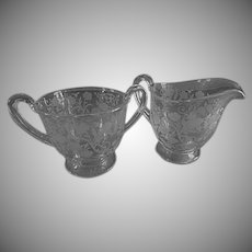 "Fostoria Etched ""Buttercup"" Pattern Open Sugar & Creamer Set"