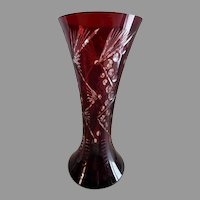 Romanian Ruby-to-Clear Mid-Century Cut Glass Vase