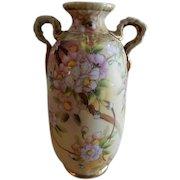 Noritake Japan Hand Painted Floral Vase w/Cherry Blossom Motif
