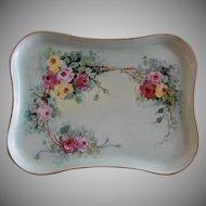 MZ Austria Hand Painted Dresser Tray w/Multi-Colored Rose Blossom Motif