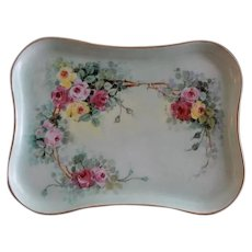 MZ Austria Hand Painted Dresser Tray w/Multi-Colored Rose Blossom Motif