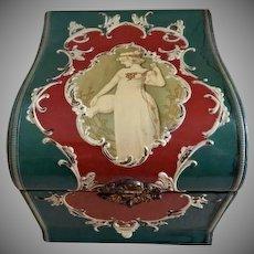 Victorian Celluloid Gentlemen's Collar Box w/Portrait & Scroll Motif